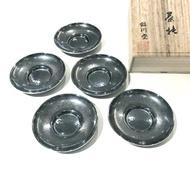 日本銅器【銀川堂】燻銀 茶仙 銅茶托5件組 贈木箱 禮盒 黃銅鍍銀 波紋杯墊 日本茶道具 茶碟 水波紋茶杯托 杯墊