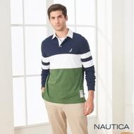 Nautica撞色拼接長袖POLO衫-藍綠色