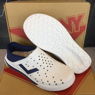 【PONY】ENJOY懶人後跟輕量透氣水陸兩用洞洞鞋 (白/藍)涼鞋 拖鞋 雨鞋 男鞋 女鞋