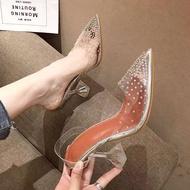 ZAZA รองเท้าส้นสูง 34-42ขนาดใหญ่รองเท้าแตะใส Rhinestone ผู้หญิงรองเท้าเกาหลีรองเท้าส้นสูงแฟชั่นรองเท้าคริสตัลชุดกางเกงยีนส์กางเกงขาสั้น คัชชูผู้หญิงดำ