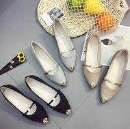 DONOTTAGES รองเท้าคัชชูหัวแหลม ส้นเตี้ย สายคาดประดับมุก รองเท้าแฟชั่นผู้หญิงเรียบหรู ใส่ออกงานสวยๆ เบอร์ 35-40