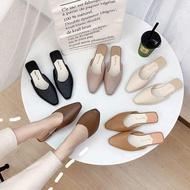 รองเท้าผู้หญิงแฟชั่นมี5สี รองเท้าคัชชู ปิดหัวเปิดส้น พื้นแบนนิ่มสวมใส่สบายรองเท้าคัดชู รองเท้าคัทชู หนัง หญิง ส้นกลมสูง องเท้าดำ รองเท้าชุมชน รองเท้าพยาบาล รองเท้าส้นเตี้ยหัวตัด แบบเปิดส้น รองเท้า คัชชูเจลลี่ รองเท้าผู้หญิง สวย นุ่มสบายเท้า