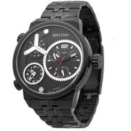 【RHYTHM 麗聲】三地時區石英手錶-黑/48mm(SI1610S02)