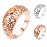 Best_Fashion Women Hollow Flower Band Handmade Finger Ring Engagement Jewelry Deor