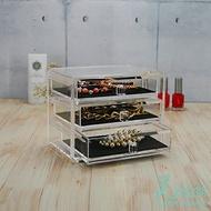透明壓克力-多功能桌上用抽屜三層橫式收納櫃 置物展示架#1640 台灣製 壓克力收納 美妝居家用品【美的空間】
