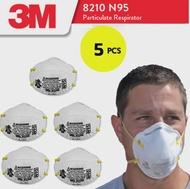 3M 8210 [x5ชิ้น]  หน้ากากกันฝุ่นชนิด เส้นใย ระดับ N95 กรองฝุ่นขนาดเล็ก