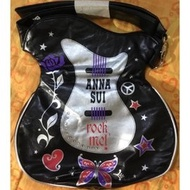 Anna Sui全新黑色底玫瑰蝴蝶搖滾天后吉他包斜背包側背包