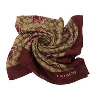 COACH 經典LOGO花卉嫘縈羊毛絲巾圍巾方巾禮盒(棗紅)