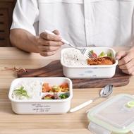 保鮮盒☒◆陶瓷三格飯盒帶蓋保鮮密封便當盒微波爐加熱專用樂扣便當盒贈餐具