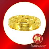 ห้างทองเยาวราชกรุงเทพ แหวนทองคำ 96.5% แหวนปลอกมีดขัดทรายจิกเพชร น้ำหนักครึ่งสลึง