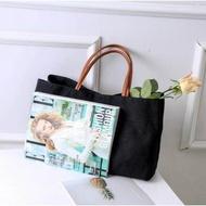 กระเป๋าผ้าถือvintageเกาหลี zakka linen bag (M-113)