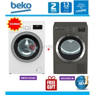 Beko 8kg Front Load Washer WMY81283LB2 + Beko Heat Pump Dryer Package DPS7405XW3/ DHX83420W/ DS8433RX1M + Free Gift