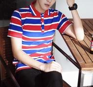 FINDSENSE MD 韓國 潮 男 時尚 翻領 撞色 寬條紋 POLO衫 短袖T恤 特色T恤