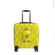 KLQDZMS 20นิ้วเด็กเป็ดสีเหลืองกระเป๋าเดินทางกระเป๋าการ์ตูนเด็กกระเป๋าเดินทางแบบลากTravelกระเป๋าใส่สุกี้บนล้อ