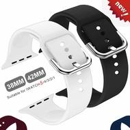 ซิลิโคนอ่อนนุ่ม Apple Watch band สำหรับ series5 44mm 40 M สำหรับ Smart I Watch STRAP Series 321 42mm 38mm แทนที่อุปกรณ์เสริมสร้อยข้อมือ
