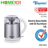 Toyomi Electric Glass Kettle with Stainless Steel Tea Infuser 1.8L WK 3362