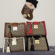 歐美專櫃代購 GUCCI古馳 padlock金屬鎖頭購物袋雙G印花鏈條包 單肩包 斜跨包 手提女包 經典氣質