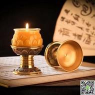 佛前燭台供佛家用純銅蓮花供奉銅燭台蠟燭台純銅酥油燈座供燈復古 MKS