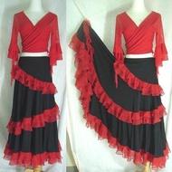 (現貨)紅邊紗黑色佛朗明哥舞裙層次裙襬奶絲裙腰圍25-30吋(不含舞衣)