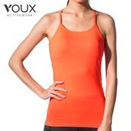 【VOUX】女透氣速乾運動背心含罩衫(桔/藍/紫S-L)
