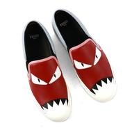 【寶思精品正貨保證】Fendi 芬迪 8E5110 Monster 魔魔圖騰粉藍/紅粉小牛皮經典球鞋38號