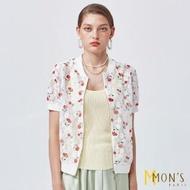 【MON'S】櫻桃鏤空蕾絲短袖小外套