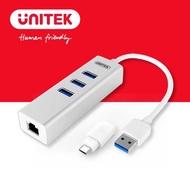 【UNITEK Type-C+A 3埠USB3.0 HUB有線網卡】Y-3083B