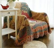 美式鄉村線毯針織地毯休閒蓋毯沙發巾沙發毯復古-世界地圖/單售