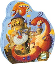 DJECO Valliant and the Dragon Silhouette Jig Saw Puzzle