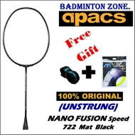 Apacs Racket (1pcs) Nano Fusion Speed 722 (6UG2) Mat Series + Free Power Max String +Tattoo Grip Unstrung Badminton Racket Package