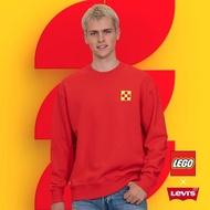 【LEVIS】X LEGO 男款 重磅大學T / 寬鬆休閒版型 / 樂高積木通用軟墊 / 附限定版積木 / 紅-人氣新品
