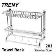 【TRENY】浴室雙層置物架-不鏽鋼201(毛巾架 置物架)