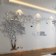DIY Large Tree Sticker wallpaper Acrylic Mirror Wall Stickers For Living Room TV Background Wall Home Decoration  Mural