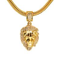 ฤดูหนาวใหม่18K ทองคำแท้เพชรหัวสิงโตฮิปฮอปสร้อยคอพร้อมจี้เครื่องประดับ Hiphop