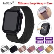 Case + Strap For Apple Watch 6 SE 5 4 3 2 1 วงสแตนเลส For Apple Watch 40mm 44mm 42mm 38mm Milanese Loop Magnetic Strap คลิกเลย