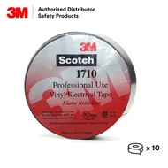 3M Scotch 1710 Vinyl Electrical Tape/ Wire Tape/ Insulation Tape /PVC Tape [ Black/ 10 rolls/ packet ] Made in Taiwan