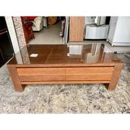 香榭二手家具*歐風胡桃木4.5尺 二抽大茶几(附玻璃)-茶几桌-泡茶桌-矮桌-置物桌-和室桌-客廳桌-沙發桌-餐桌-邊几