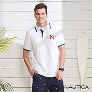 Nautica 簡約撞色衣領短袖POLO衫-白