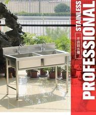 水槽-不銹鋼單水槽雙槽帶支架商用洗碗洗菜盆池手工廚房 2個大號池