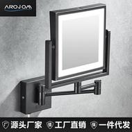 浴鏡 LED燈免打孔浴室方型美容鏡 美式帶燈雙面摺疊化妝鏡黑色伸縮鏡子 8號時光