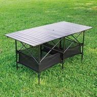 【索樂生活】黑金鋼超大露營蛋捲桌(攜帶式餐桌 露營桌 折疊桌 鋁合金 戶外 郊遊 野餐 烤肉)