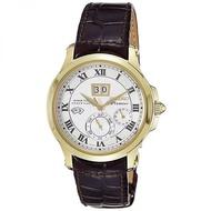 Seiko SNP044P1 Men's Premier Kinetic Perpetual Calendar Black Leather Strap Watch