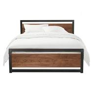 【精品小鋪】 LOFT工業風實木飾板鐵床架/歐式復古木飾鐵管床架/法式古典鐵藝床架/5尺6尺雙人床/3尺半單人床