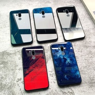 LG手機殼 保護套 防摔殼 0414# 印象小鋪LGG7手機殼玻璃硅膠lg g7保護套全包邊軟鏡面防摔冷淡風紋理星空極簡