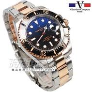valentino coupeau 范倫鐵諾 夜光時刻男錶 漸層 潛水錶 水鬼 玫瑰金x藍 V61589TRG 時間玩家
