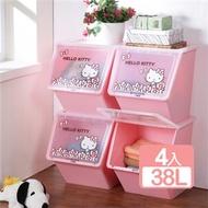 《樹德SHUTER X Hello Kitty 》天使可疊式收納箱38L(4入)