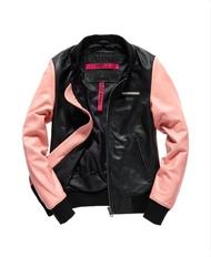 跩狗嚴選 絕版限量 極度乾燥 Superdry Angel 棒球外套 皮衣 全真皮 拼接 黑色 粉紅