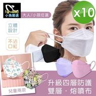 【小魚嚴選】韓國KF94雙層融噴布四層防護口罩-10入(10入/包x1包)
