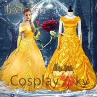 現貨迪士尼美女與野獸cos 貝兒cosplay服裝 Belle黃色公主禮服cos服
