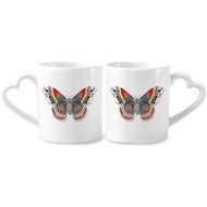 3D Kite Butterfly in Chinese Style Couple Mugs Ceramic Lover Cups Heart Handle 12oz Gift - intl